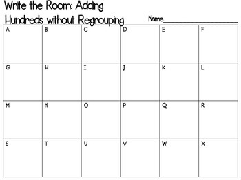 Write the Room: Adding Hundreds without regrouping