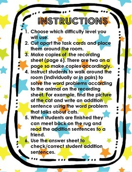 Write the Room Addition Word Problems