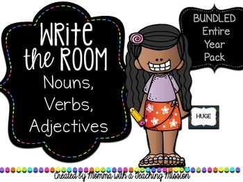 Write the Room : Bundled Year Long Pack Nouns, Verbs, Adjectives