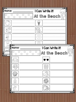 Write the Room Center : At the Beach, Cards, Flashcards, Response Pages, summer