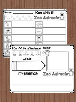 Write the Room Center : Zoo Animals, Cards, Flashcards, Response Writing Pages