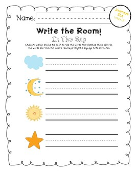 Write the Room: National Journeys Kindergarten ELA Series, Lesson 15, In The Sky