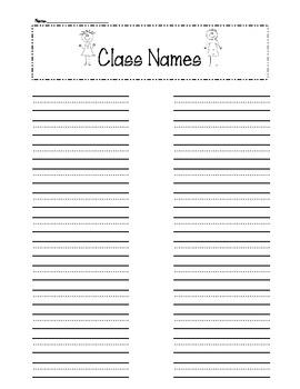 """""""Write the Room"""" Class Names Freebie"""
