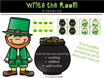 Write the Room - Counting, Addition, Subtraction St. Patrick's Day