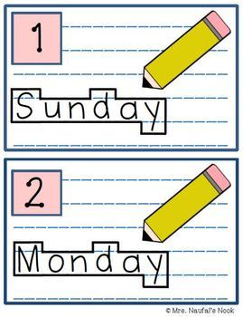 Write the Room Days of the Week and Months of the Year