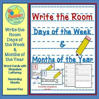 Write the Room:  Days of the Week & Months of the Year