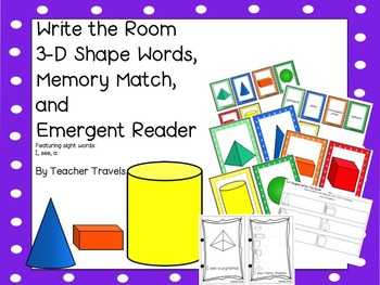 Write the Room, Emergent Reader, and Memory Match - 3-D Shapes