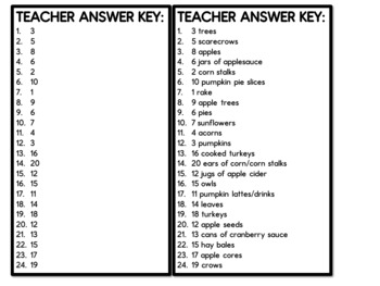 Fall Math Centers- Write the Room Counting Cards