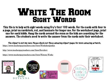 Write the Room - Fry's Sight Words