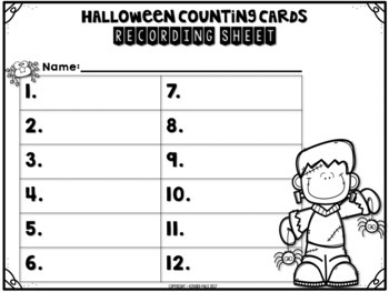 October/Halloween Math Center- Write the Room Counting Cards