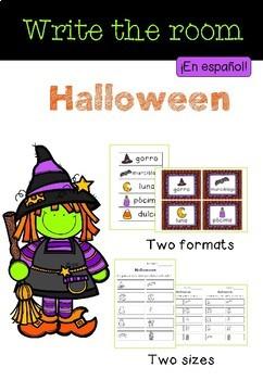 Write the Room Halloween in Spanish / Cursiva e imprenta