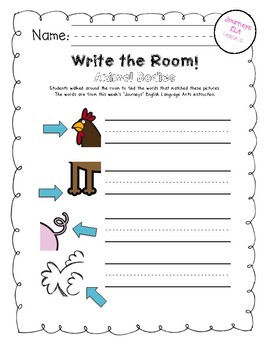 "Write the Room:  Journeys Kindergarten ELA Series, Lesson 13, ""Animal Bodies"""
