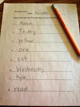 Write the Room Kindergarten Literacy Center Activity