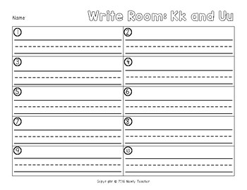 Write the Room - Kk and Uu