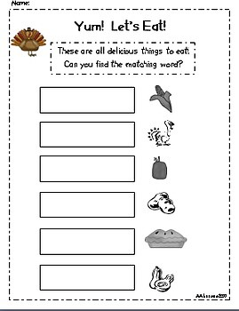 Write the Room Literacy Center Student Activities - Thanksgiving