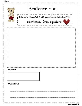 Write the Room Literacy Center Student Activities - Valentine's Day