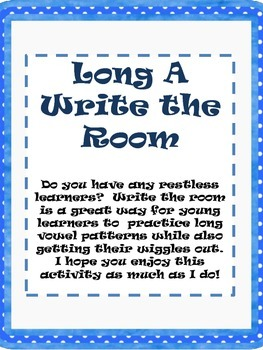 Write the Room Activity - Long A