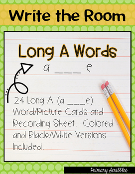 Write the Room Long A Words CVCe (a___e words)