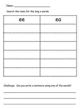 Write the Room Activity - Long E
