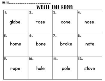 Write the Room: Long O, O_E, CVCE