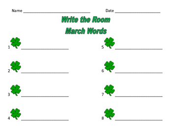 Write the Room March / Spring / St. Patrick's Day
