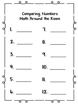 Write the Room Math Comparing Numbers