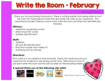 Write the Room - Math and Literacy - February Edition