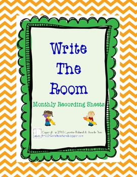 Write the Room Monthly Recording Sheets