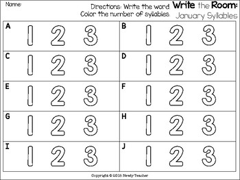 Write the Room: Monthly Syllables