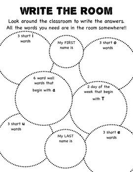 Write the Room {NO Prep Literacy Activities}