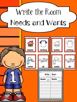 Needs and Wants Sort - Write the Room