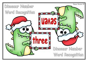 Write the Room: Number Words Christmas Dinosaur Theme