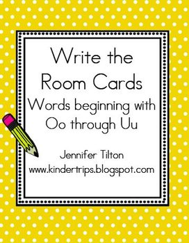 Write the Room Picture & Word Cards for letters Oo through Uu