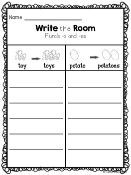 Plural Nouns (-s and -es) - Write the Room