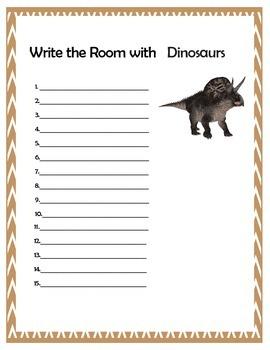 Write the Room: Popular Dinosaurs
