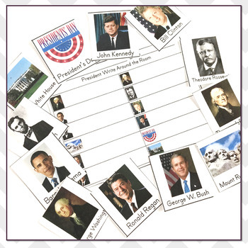 Write the Room President's Day Vocabulary