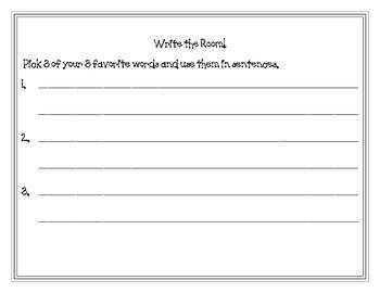 Write the Room Recording Sheet FREEBIE
