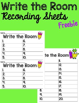 Write the Room Recording Sheets