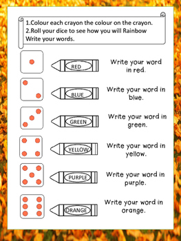 Write the Room & Roll A Word Fall Edition
