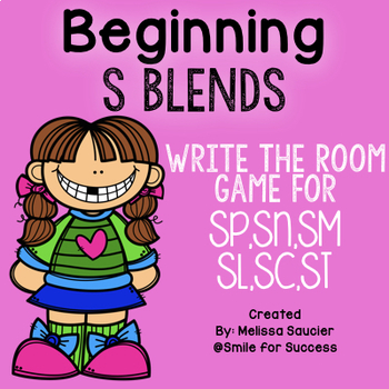 Beginning S Blends ( Sk, Sm, Sn, Sl, Sp)  | Write the Room Game and Printables