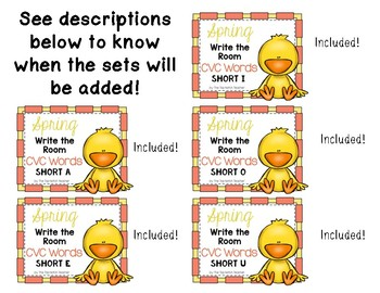 Write the Room {SPRING themed} CVC Words Short Vowels BUNDLE