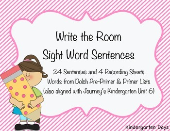 Write the Room Sight Word Sentences (Pre-Primer, Primer, Journey's Kindergarten)