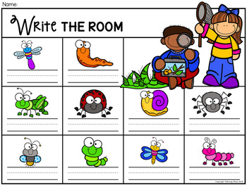 Write the Room: Sight Words - Garden Insects Bugs and Slugs {Editable}
