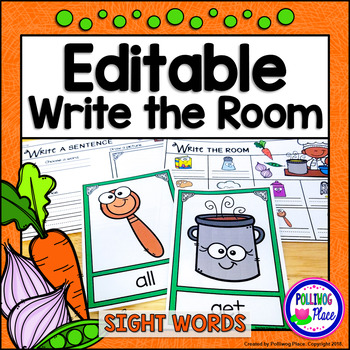 Write the Room: Sight Words - Kitchen Cooking Fun {Editable}