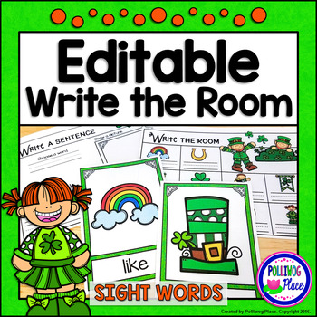 Write the Room: Sight Words - St. Patrick's Day {Editable}