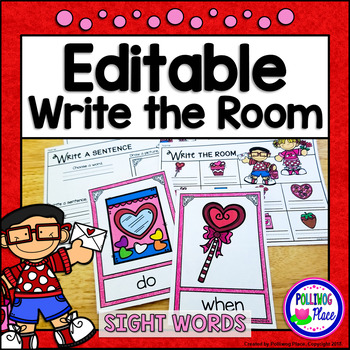 Write the Room: Sight Words - Valentine's Day {Editable}