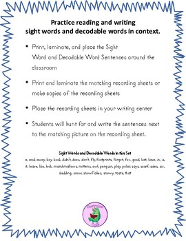 Write the Room Sight Word and Decodable Word Sentences: January Edition