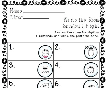 Write the Room Snowball Fight! Music Edition Bundled Set (6 sets)