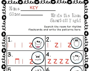 Write the Room Snowball Fight! Music Edition Z (rest) Set