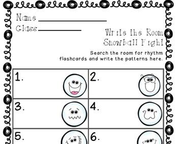 Write the Room Snowball Fight! Music Edition tika tika (sixteenth notes) Set